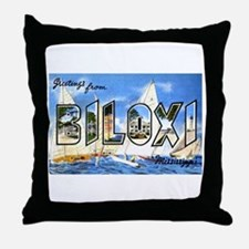 Biloxi Mississippi Greetings Throw Pillow