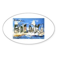 Biloxi Mississippi Greetings Oval Decal