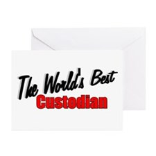 """The World's Best Custodian"""" Greeting Cards (Packag"""