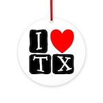 I Love TX Ornament (Round)
