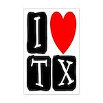 I Love TX Mini Poster Print