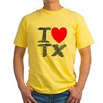 I Love TX Yellow T-Shirt