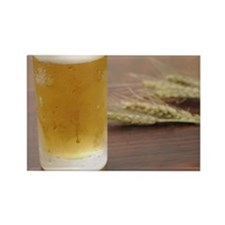 Glass of beer and ear of wheat. Rectangle Magnet