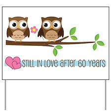 60th Wedding Anniversary Owls Yard Sign