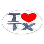 I Love TX Oval Sticker