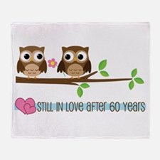 60th Wedding Anniversary Owls Throw Blanket