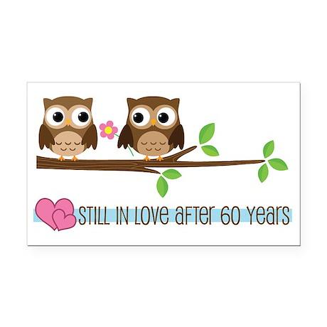 60th Wedding Anniversary Owls Rectangle Car Magnet
