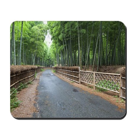 Bamboo grove and footpath, Kyoto Prefectu Mousepad