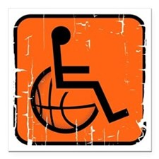"""Handicapable Basketball Square Car Magnet 3"""" x 3"""""""