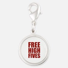 FREE HIGH FIVES Silver Round Charm