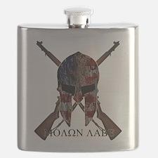 Molon Labe Crossed Guns Flask