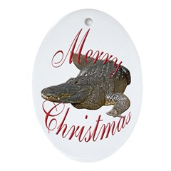 Alligator Animal White Oval Ornament