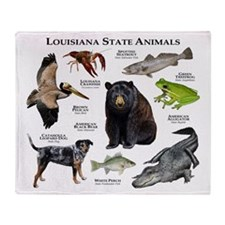 Louisiana State Animals Throw Blanket