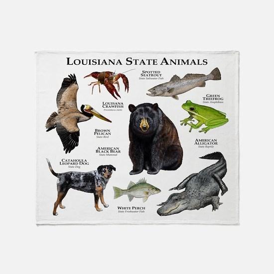 Louisiana State Animals Throw Blanket