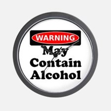 May Contain Alcohol Warning Wall Clock