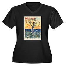 Paris Bike Women's Plus Size V-Neck Dark T-Shirt