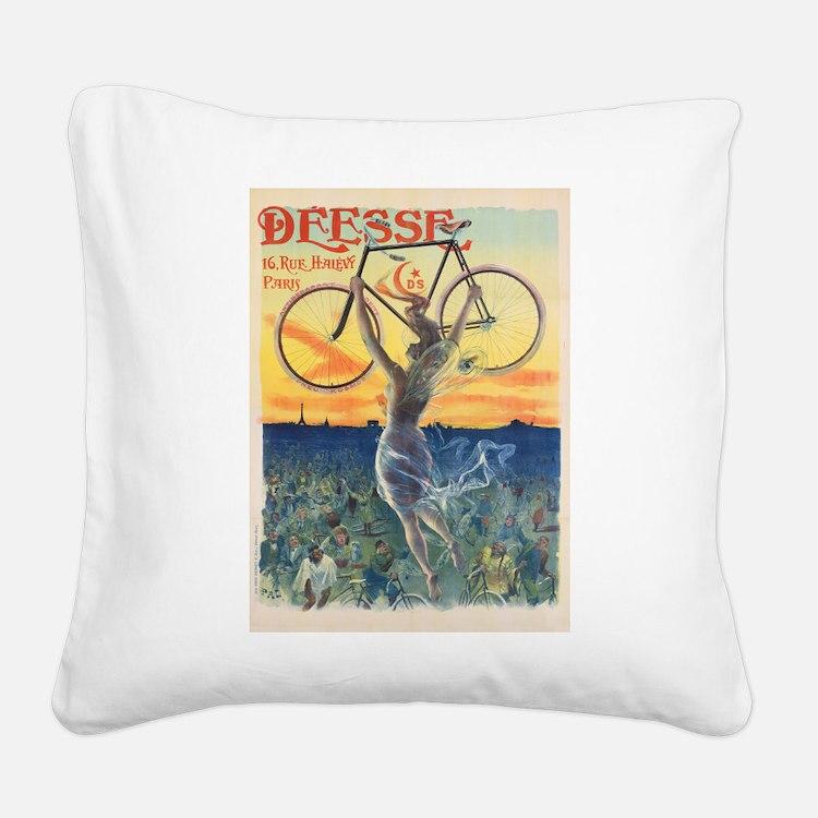 Paris Bike Square Canvas Pillow