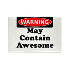 Warning May Contain Awesome Rectangle Magnet