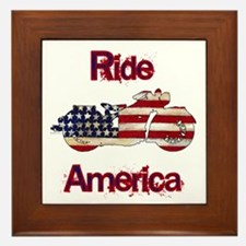 Flag-painted motorcycle-RIDE-1 Framed Tile