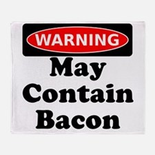 May Contain Bacon Warning Throw Blanket
