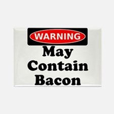 May Contain Bacon Warning Rectangle Magnet