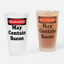 May Contain Bacon Warning Drinking Glass