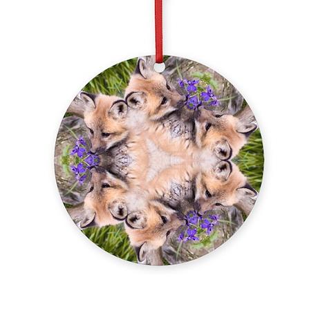 Red Fox Mandala Ornament (Round)