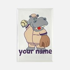 Personalized Softball Hippo Rectangle Magnet