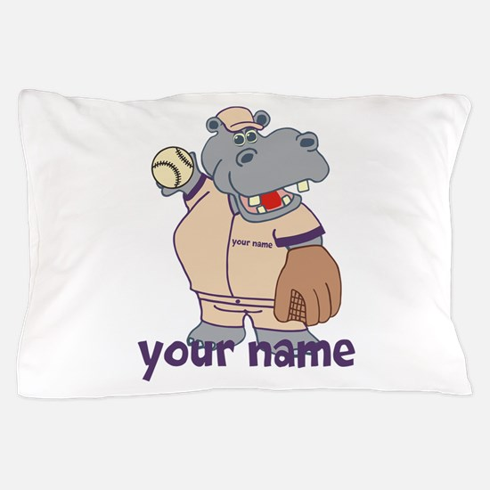 Personalized Softball Hippo Pillow Case