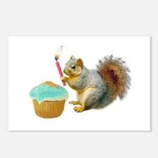 Squirrel Candle Cupcake Postcards (Package of 8)