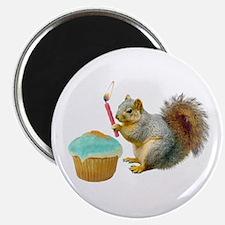 Squirrel Candle Cupcake Magnet