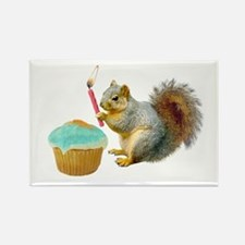 Squirrel Candle Cupcake Rectangle Magnet (10 pack)