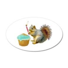 Squirrel Candle Cupcake Wall Decal