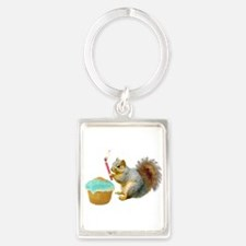 Squirrel Candle Cupcake Portrait Keychain