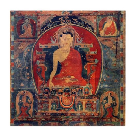 Buddah Tibet Ancient Art Tile Coaster