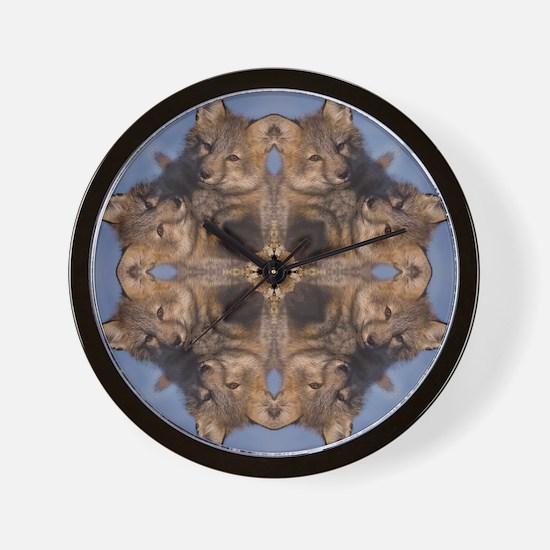 Cross Fox Mandala Wall Clock