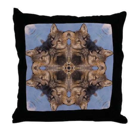 Cross Fox Mandala Throw Pillow