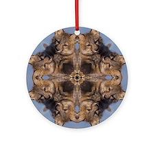 Cross Fox Mandala Ornament (Round)