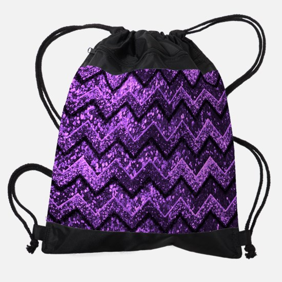 Chevron Glitter Purple Pattern Drawstring Bag