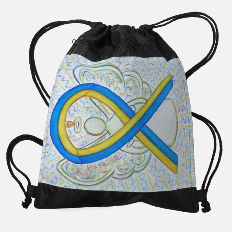 Blue Yellow Ribbon Angel Drawstring Bag