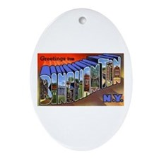 Binghamton New York Greetings Oval Ornament