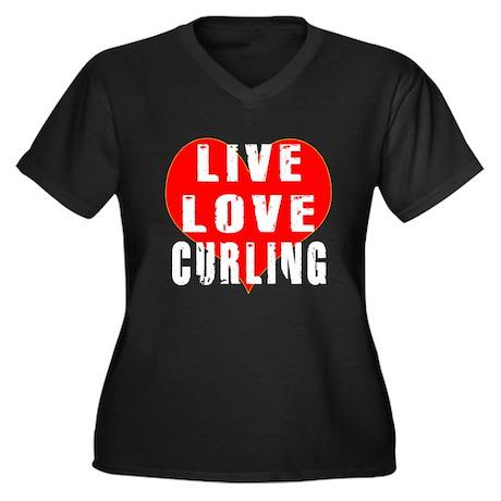 Live Love Curling Women's Plus Size V-Neck Dark T-