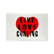 Live Love Curling Rectangle Magnet