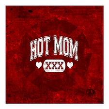 "Hot Mom Square Car Magnet 3"" x 3"""