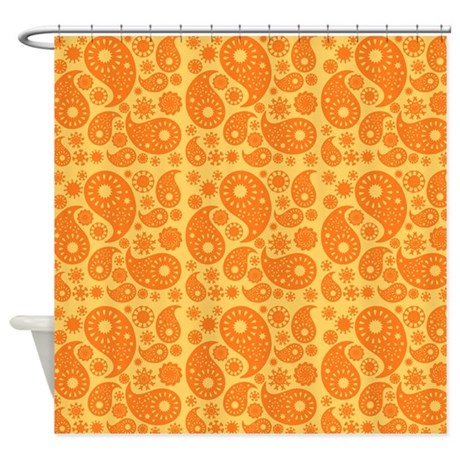 Orange Paisley Shower Curtain By Metarla3