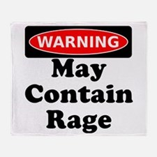 Warning May Contain Rage Throw Blanket