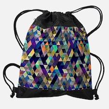Mixed colors triangles Drawstring Bag