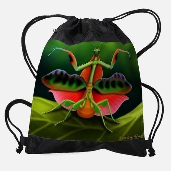 Tropical Praying Mantis on Leaf Drawstring Bag