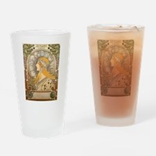 Mucha La Plume Art Nouveau Drinking Glass