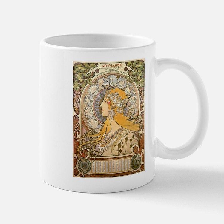 Mucha La Plume Art Nouveau Small Small Mug